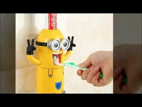 Cute Despicable Me Minions Design Set Cartoon Toothbrush Holder Automati...