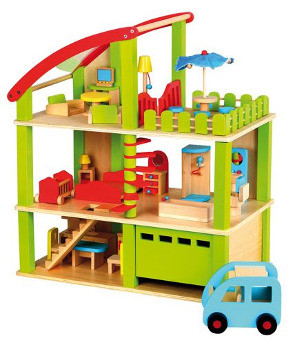 Casa de muñecas completa, coche incluido. Sólo le faltan los muñecos que los podrás encontrar en nuestra tienda #casasdemuñecas #casitasdemuñecas PVP: 95 €  http://www.babycaprichos.com/casa-de-munecas-madera-de-3-pisos.html