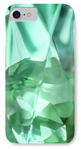 Jane Star IPhone 7 Case featuring the photograph Green Crystal Bowl by Jane Star  #JaneStar #IPhoneCase #Abstract #Green #Glass