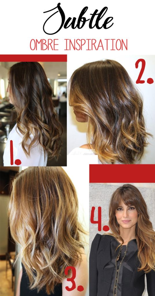 Subtle ombre inspiration. Caramel, light brown ombre highlights give a natural look. #hair