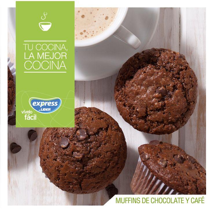 Muffins de chocolate y café / #RecetarioExpress #ExpressdeLider #Receta #Food #Foodporn #Muffins #Chocolate #Café