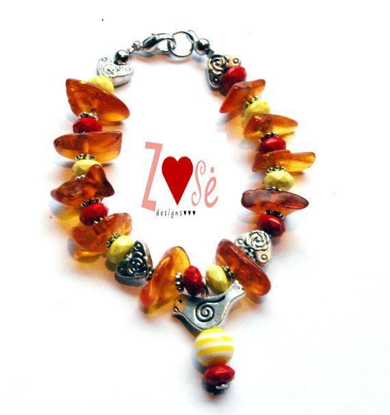 Girls amber bird bracelet. Size Medium. by ZoseDesigns on Etsy, $15.00