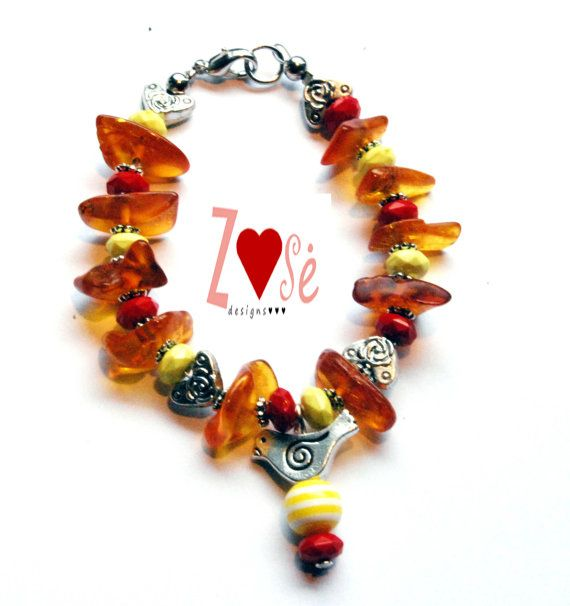 Girls amber bird bracelet. Size Medium. by ZoseDesigns on Etsy, $15.00