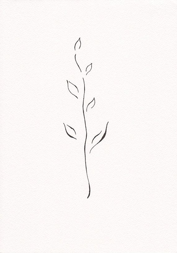 Minimalist Line Art : Very minimalist branch drawing black and white ink