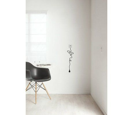 KEK Amsterdam Muursticker 'snoer' zwart folie 14x56cm, Unplugged black