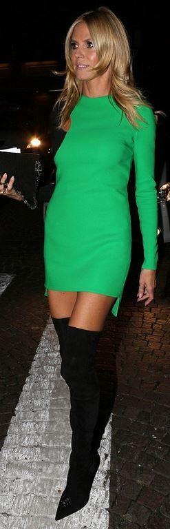 Who made  Heidi Klum's green mini dress and black thigh high dress?