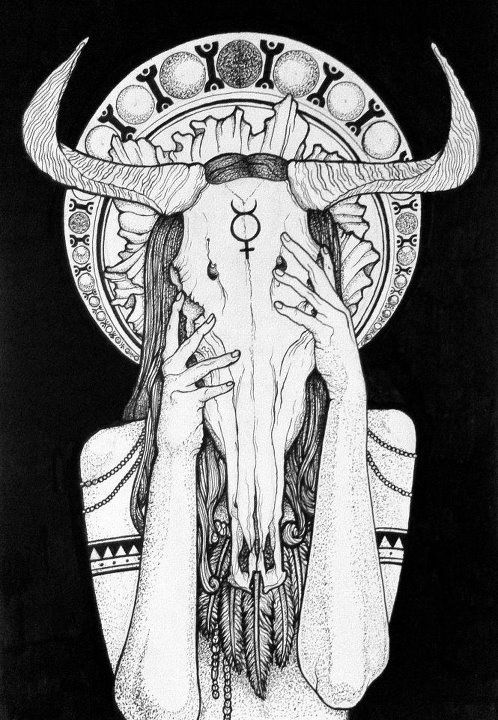 Illustration Wild Girl Tête de mort