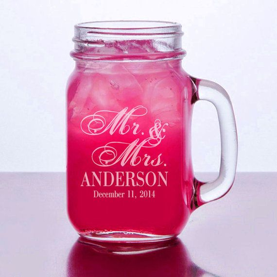 Mr Mrs Mason Personalized Mugs with Handle Mason Jar Glasses Wedding Party Bridesmaid Gift Groomsmen Favor Wedding Favors Wholesale DIscount... £4.23
