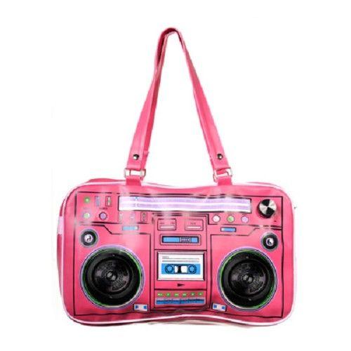 Grote stereo speaker tas roze - Banned