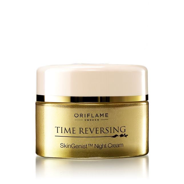 Oriflame Time Reversing SkinGenist (TM) Night Cream (24184) - Rejuvenate as you rest! A powerful anti-ageing formula helps prolong the skin's youthful appearance. With encapsulated genisteinSOY to ensure deeper skin penetration. Rich, luxurious texture nourishes and renews your skin overnight, boosts skin resilience and visibly diminishes wrinkles. 50 ml.