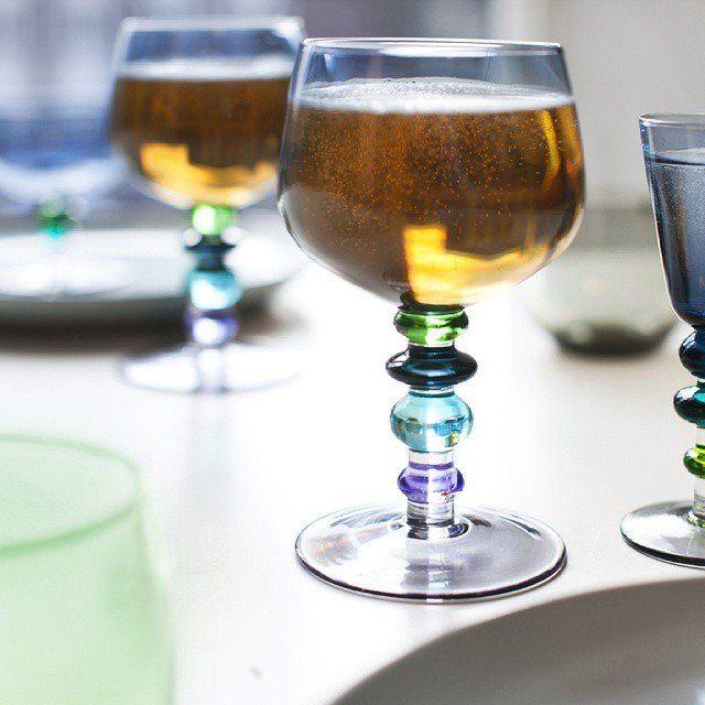 Blue Spectra Wine Glasses #Glass, #HandPainted, #Wine