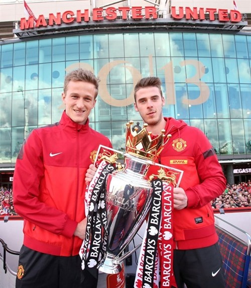 The two keepers: Anders Lindegaard and David De Gea