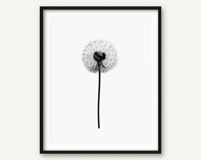 Paardebloem Print, paardebloem Wall Art, zwart en wit paardebloem Poster, bloemenprint, florale kunst aan de muur, Floral afdrukbare, paardebloem Decor,