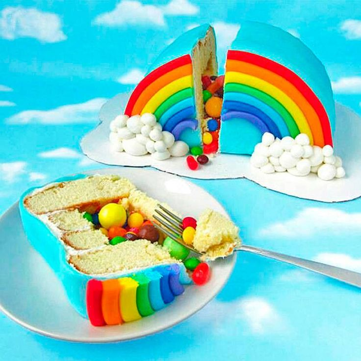 Photo gateau arc en ciel