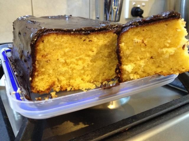 Custard powder isn't a standard ingredient for a cake, but this one is yummy - give it a try.