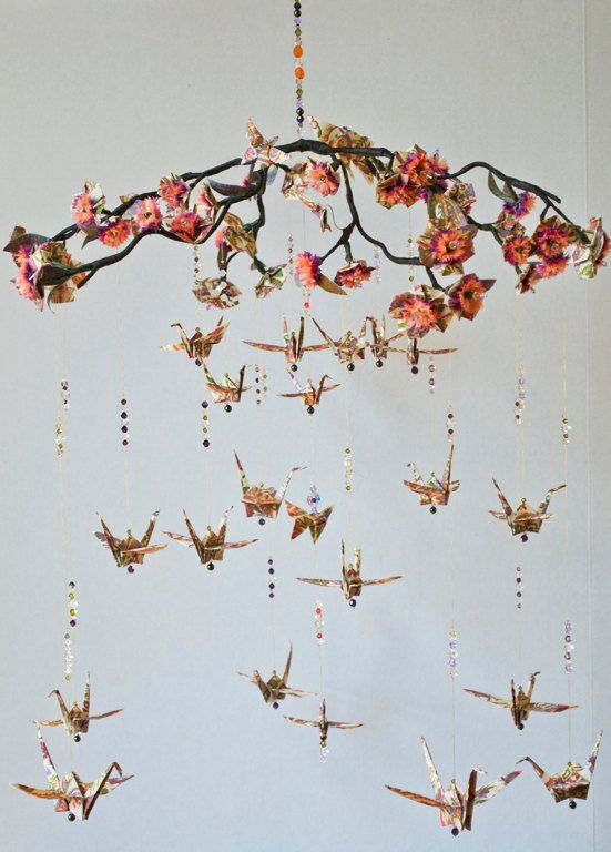 Origami Blossom and Crane Paper Mobile Photo by amgdesignstudio