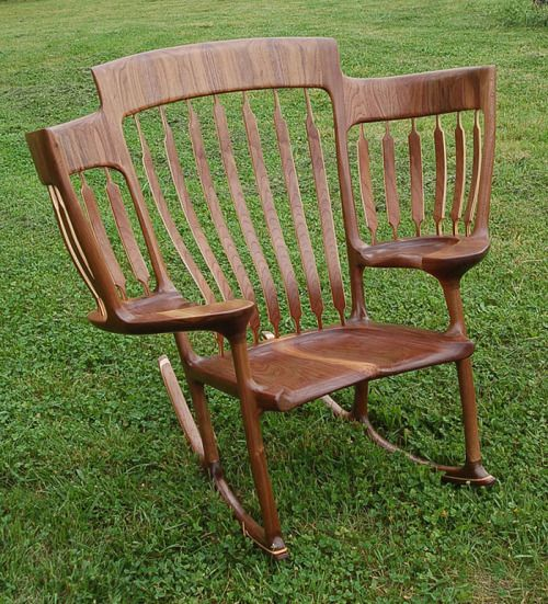 alisoncoldridge:      Hal's handcrafted chair sorted his story time dilemma. [Photo: Hal Taylor]    A father has created a three-person rocking chair – just so he can read to all of his children at on