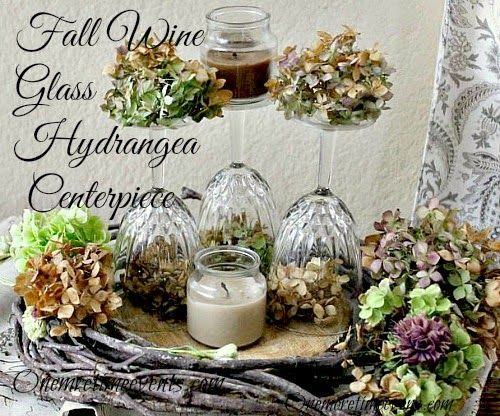 One More Time Events...: Fall Wine Glass Hydrangea Centerpiece