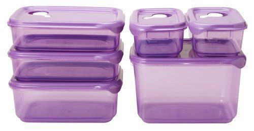 Starmaid Fresh Seal Food Storage Container Set, Purple Tint, 12-Piece by Starmaid Kitchen. $24.11. Made from premium food-safe material that is 100-percent lead, BPA and cadmium free; freezer, microwave and top rack dishwasher safe. Steam release vent system allows for quick thawing and reheating of food. Available in four different colors with see through tint color container and matching solid color lid. Australian designed around functionality and quality; mad...