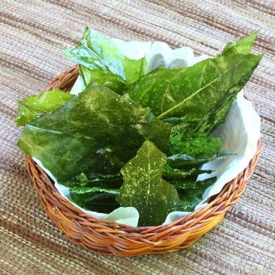Dandelion greens chips- coat leaves in OO, bake at 350 for 10 min, sprinkle with sea salt.
