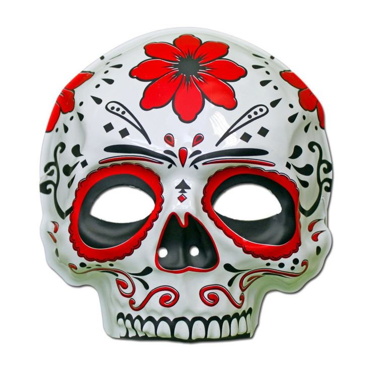 Rubber Mask - Day Of The Dead Masquerade Mask  - Red Flower