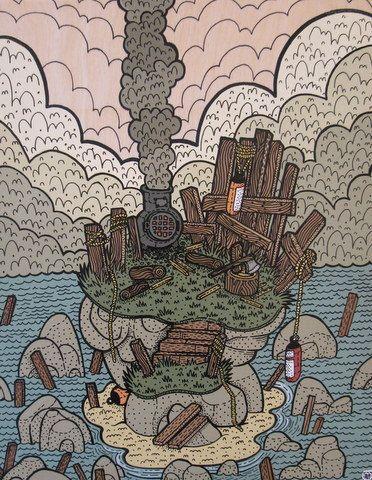 """View from the Point, Briar Island"" 11"" x 14"" Acrylic on Board , Nick Brunt, Urban Folk Artist www.argylefineart.blogspot.com"