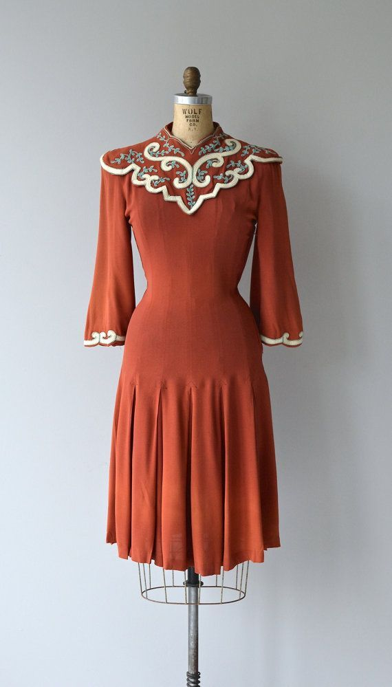 La Polonaise dress vintage 1930s dress rayon 40s by DearGolden