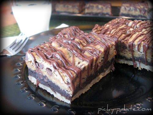 sugar, double chocolate chip, peanut butter, and chococolate chip bars: Cookies Bar, Mothers Loaded, Chocolates Chips, Picky Palat, Bar Recipes, Motherlod Layered, Bar Cookies, Layered Cookies, Peanut Butter