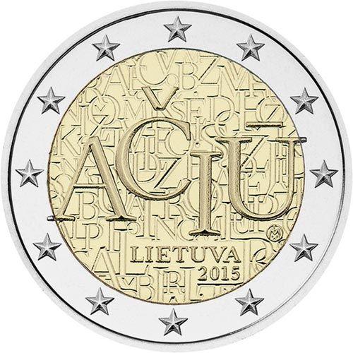 moneda conmemorativa 2 euros Lituania 2015 Idioma., Tienda Numismatica y Filatelia Lopez, compra venta de monedas oro y plata, sellos españa, accesorios Leuchtturm