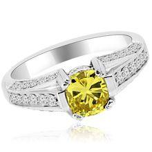 Fancy Cushion Canary Yellow Diamond Engagement Ring