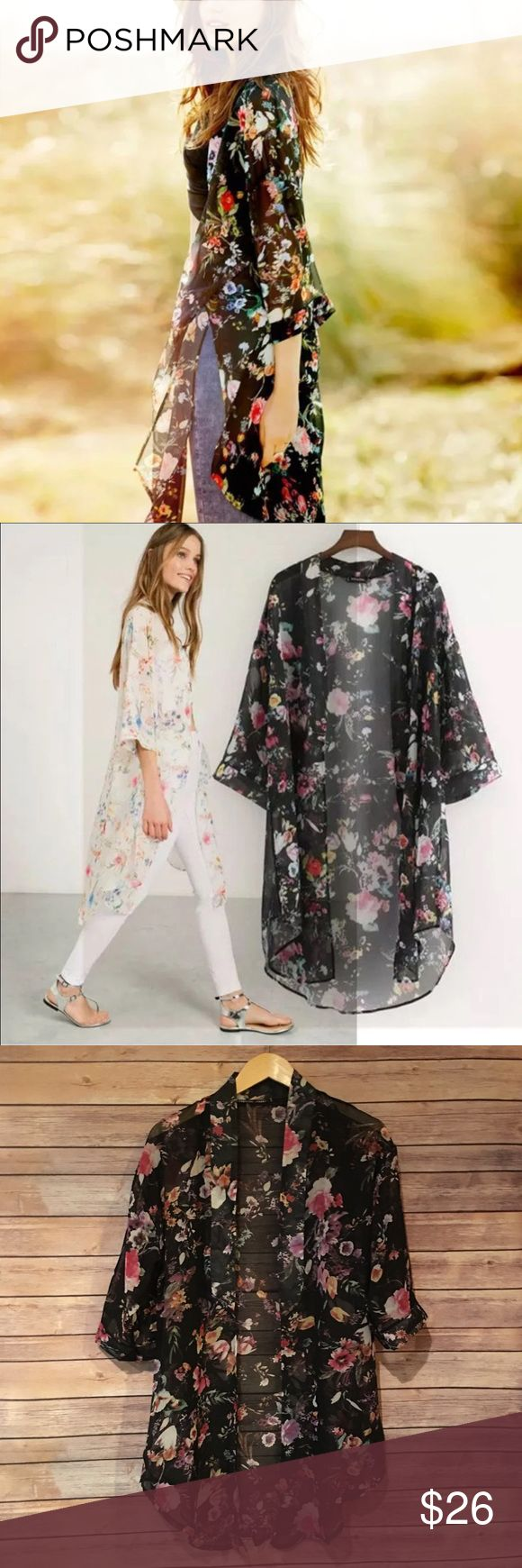 "Floral Chiffon Cardigan Kimono Floral Chiffon cardigan Kimono. Made of 100% polyester. Available in small, medium and large. Fits true to size. Length approx 35"". Bchic Tops"