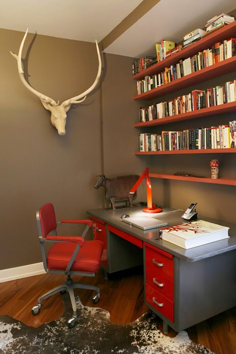 I like the lacquered horns and the way the red pops against the brushed metal or gray.
