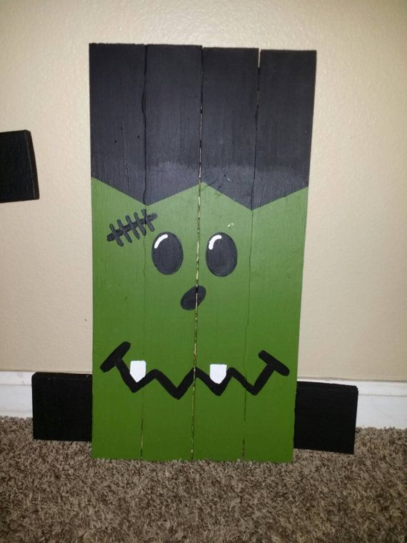 Frankenstein Halloween Pallet sign. Front yard Decoration. Fall or Autumn Decor…