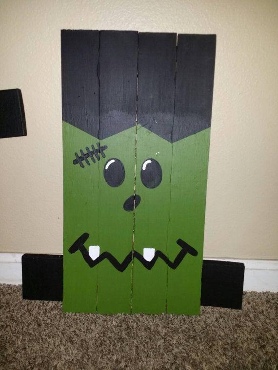 Frankenstein Halloween Pallet sign. Front yard Decoration. Fall or Autumn Decor…