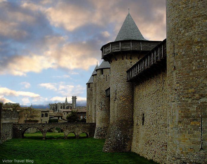 The walls of medieval city-castle Сarcassonne, France. www.victortravelblog.com/2013/04/30/cite-de-carcassonne/