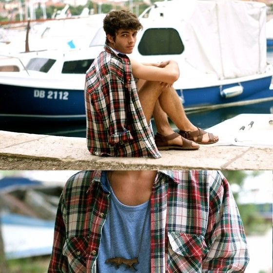 Vintage Tartan Shirt, Titimadam Fox Necklace, H Tank Top, Maison Martin Margiela Sandals
