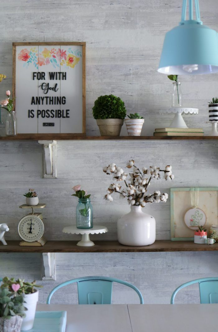 how to style farmhouse shelves love this bright space click for the easy diy