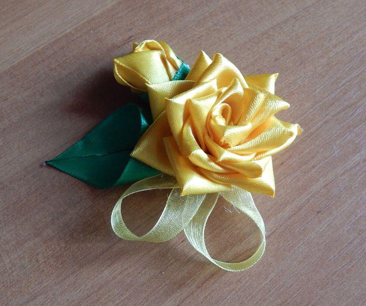 Цветы из ткани. Как сделать розу из узкой атласной ленты.DIY.Rose