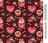 Cookies, cakes and chocolate sweets for valentines day. Seamless pattern by Sundra, via Shutterstock