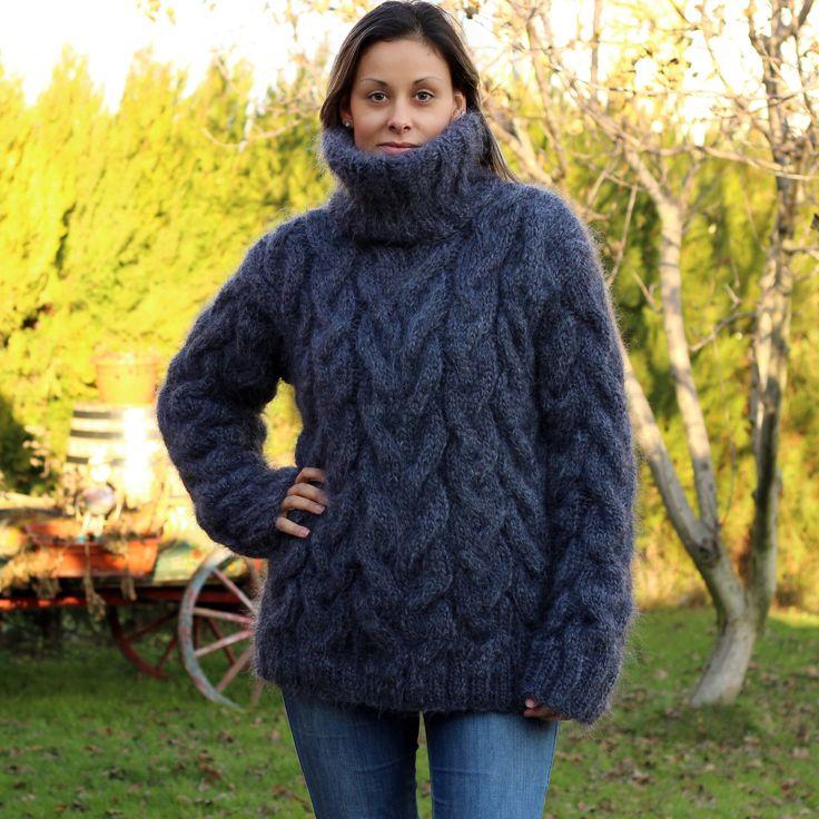 Hand knit mohair turtleneck jumper