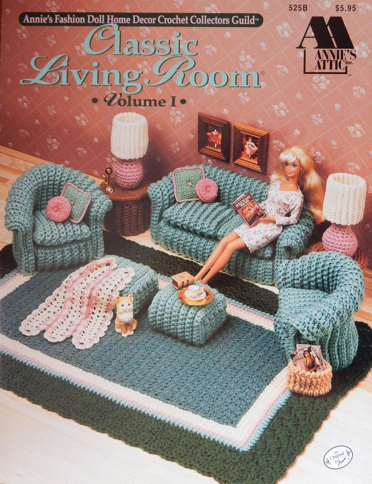 Crochet Pattern Classic Living Room No 1 For 11 1/2 inch Doll/ Annies Fashion Doll Home Decor Crochet Collectors/furniture couch/Slight Odor by RedWickerBasket on Etsy