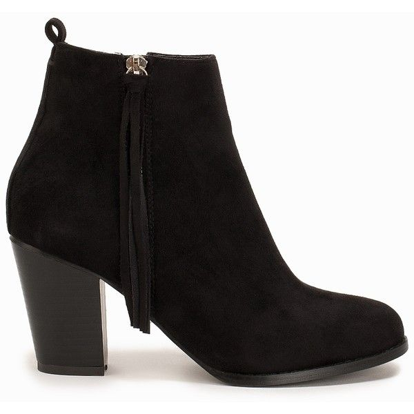 Nly Shoes High Heel Ankle Boot found on Polyvore featuring shoes, boots, ankle booties, black, heels, everyday shoes, womens-fashion, high heel bootie, black fringe booties and fringe booties