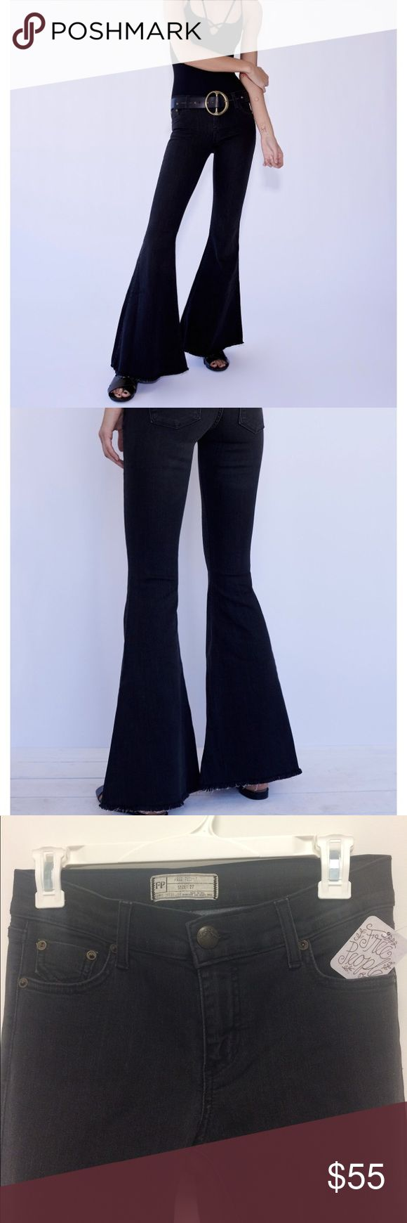 """Free People Denim Super Flare Pants Size 27, Regular Length, Colin Black Free People Flare jeans.  These exaggerated denim flared jeans are American made, and feature a frayed hem and five pocket design. Medium rise zip fly with button closure.  Sizing Tip: This style runs snug but has stretch so it loosens with wear. Rise 8.5"""", 42"""" in length from waistband to fray hem. Free People Jeans Flare & Wide Leg"""