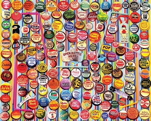 Soda Caps Jigsaw Puzzle, Collage Puzzle-White Mountain Puzzles. 1000 Pieces.