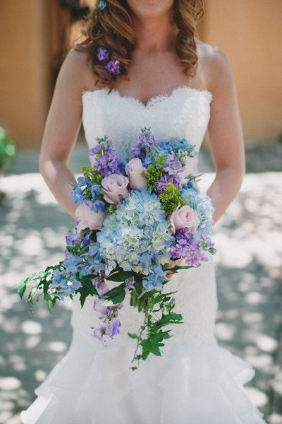 Unique hydrangea wedding bouquet - pastel pink roses, blue hydrangeas + cascading greenery {Mercedes Morgan Photography}