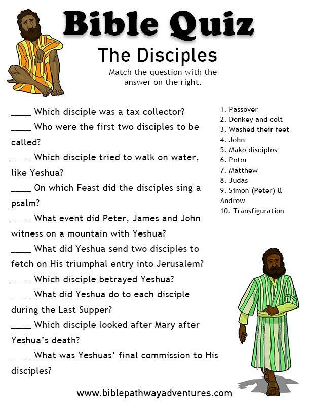 Printable bible quiz - The Disciples.