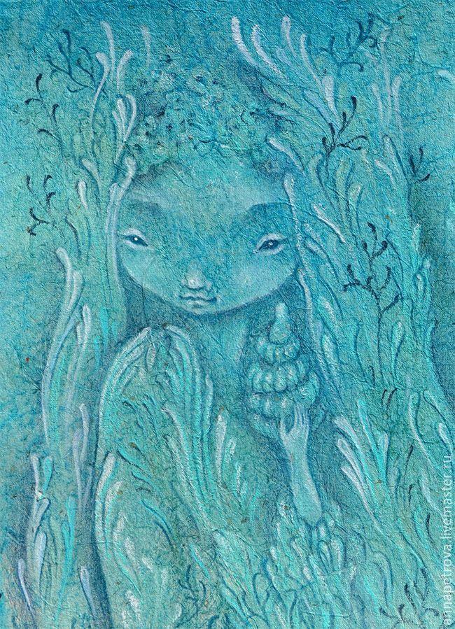 Pastel drawing | Купить Ракушки. Картина фэнтези. Морской стиль. - тёмно-бирюзовый, картина русалки, картина в подарок