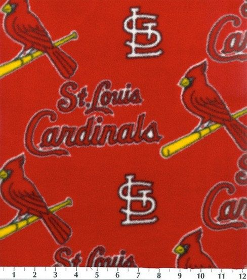 St. Louis Cardinals MLB Red Fleece Fabric by CraftsbyRuthanne on Etsy