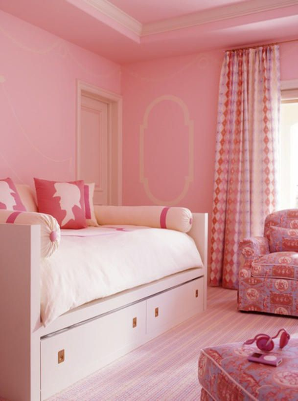 One Color, Same Intensity    When going all-out with color, like in this child's bedroom by designer Steven Miller, make sure the color intensities are similar. That is, don't pair pale pinks with neon pinks, or the room will feel disconnected. Likewise, if saturated blue is your color of choice, a pastel blue will look out of place. Even in analogous rooms, which tend to be calming, pick shades that have similar intensities. Photo by Matthew Millman.Little Girls Room, Girls Bedrooms, Kids Room, Pink Room, Pink Wall, Trundle Beds, Pink Bedrooms, Pillows, Girl Rooms
