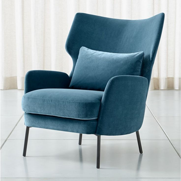 Alex Navy Blue Velvet Accent Chair + Reviews Crate and